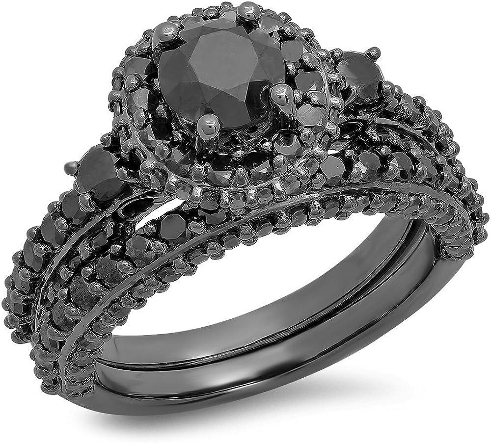 3.10Ct Princess Cut Black Diamond Engagement Wedding Ring Set in 14K White Gold
