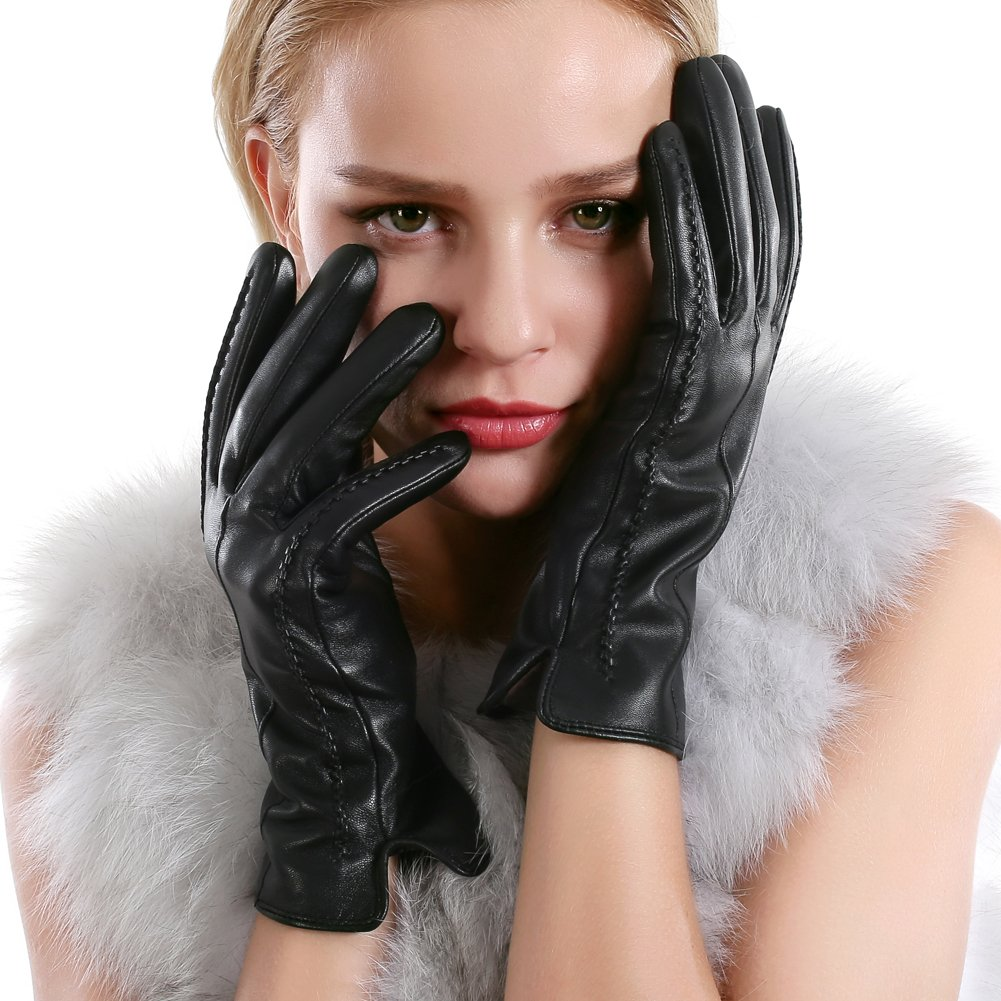 Winter Touchscreen Texting Leather Gloves Women Nappa Leather Cashmere Lining Gloves(8.5(US Standard Size), Black(Touchscreen Function/Cashmere Lining)) by QUEENFUR