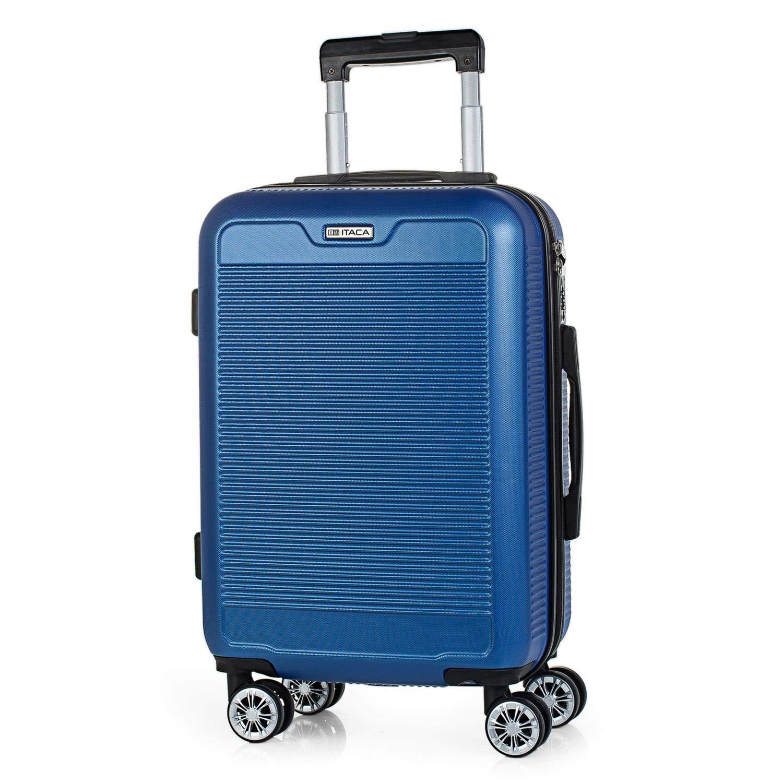 ITACA - トロリーキャリッジ50 cm ABSスーツケース。手荷物。硬くて軽い。伸縮ハンドル、2つのハンドル、4つの車輪。ローコストフライトT72050、青色 B079YGJY6R