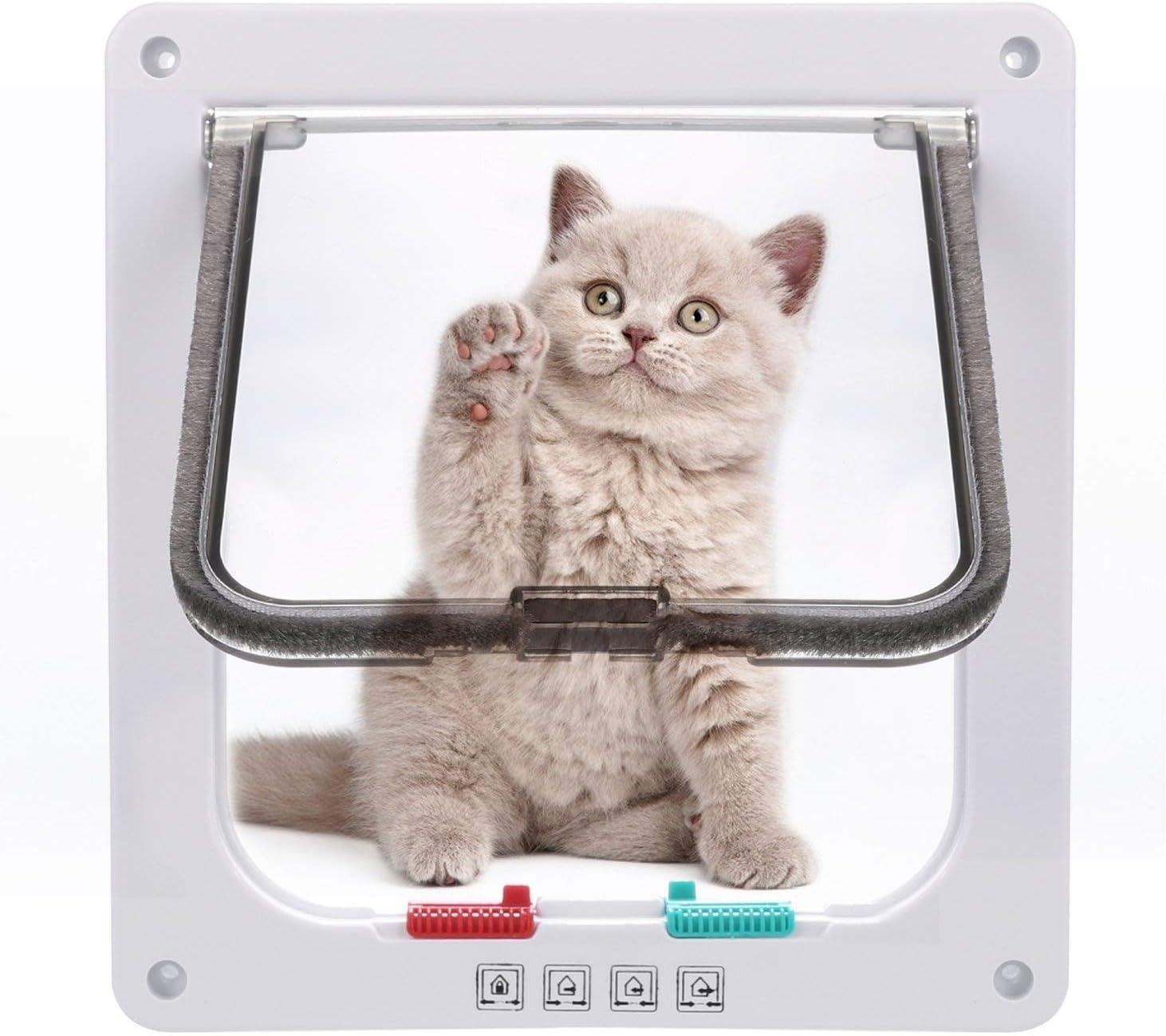 Sailnovo Puerta para Gato con Cierre magnético de 4 vías, Puerta para Mascotas para Gatos y Perros pequeños, Puerta para Gatos con túnel (Blanco, M)