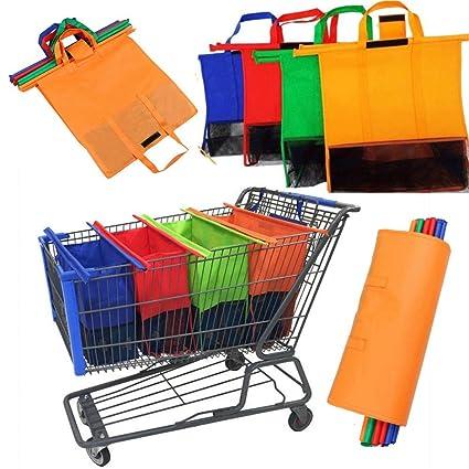 Juego de 4 bolsas de la compra de supermercado para carrito de la compra, bolsas