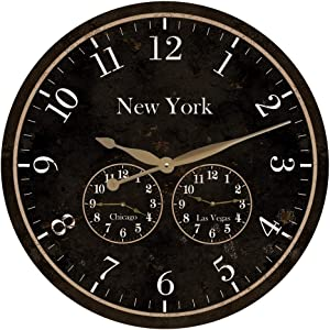 Large Time Zone Wooden Clock 3 Time Zone Personalized Decorative Wooden Round Home Decor Wall Clock 12 Inch