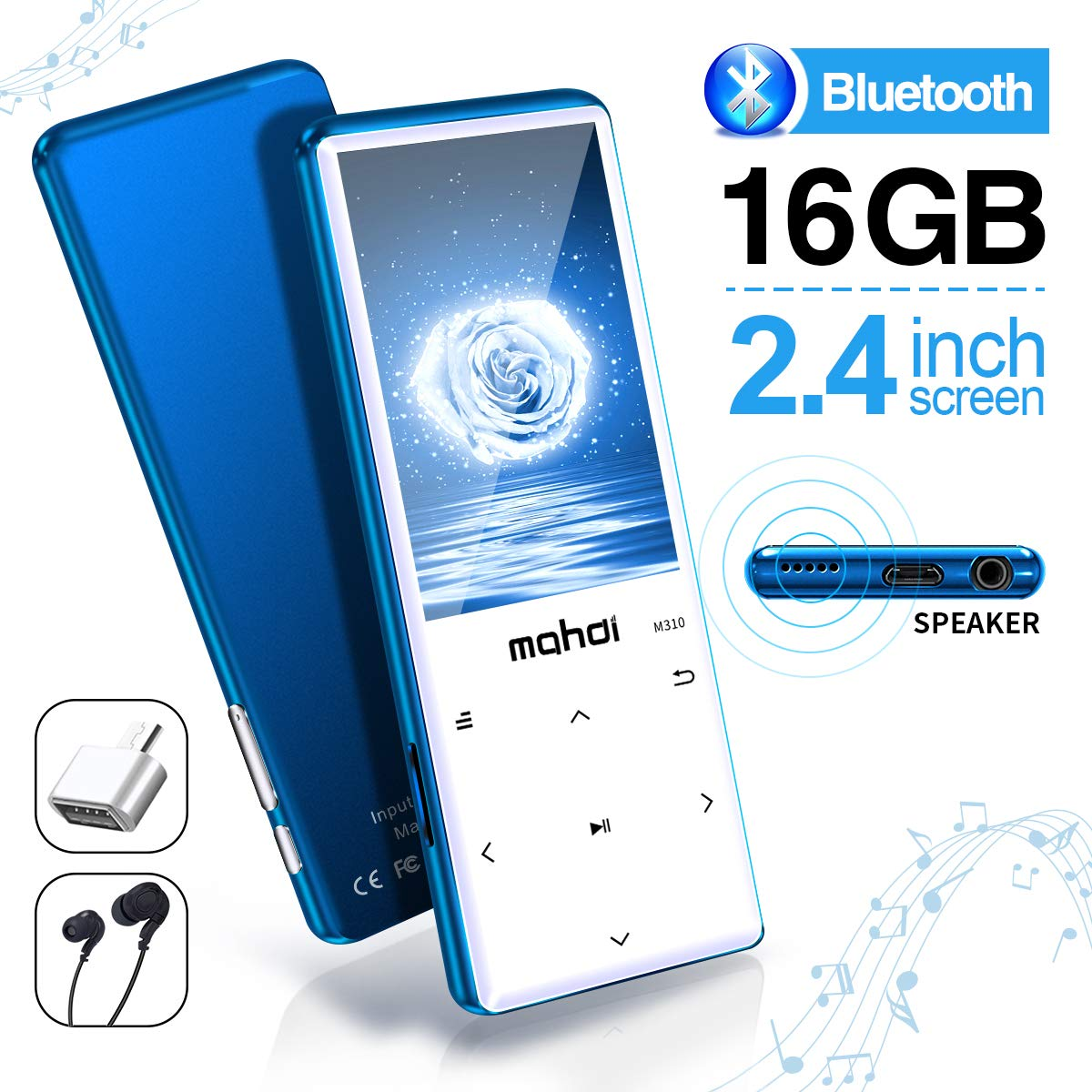 MYMAHDI MP3 Player with Bluetooth 4.2, Touch Buttons with 2.4 inch Screen, 16GB Portable Lossless Digital Audio Player with FM Radio, Voice Recorder, Support up to 128GB, Blue