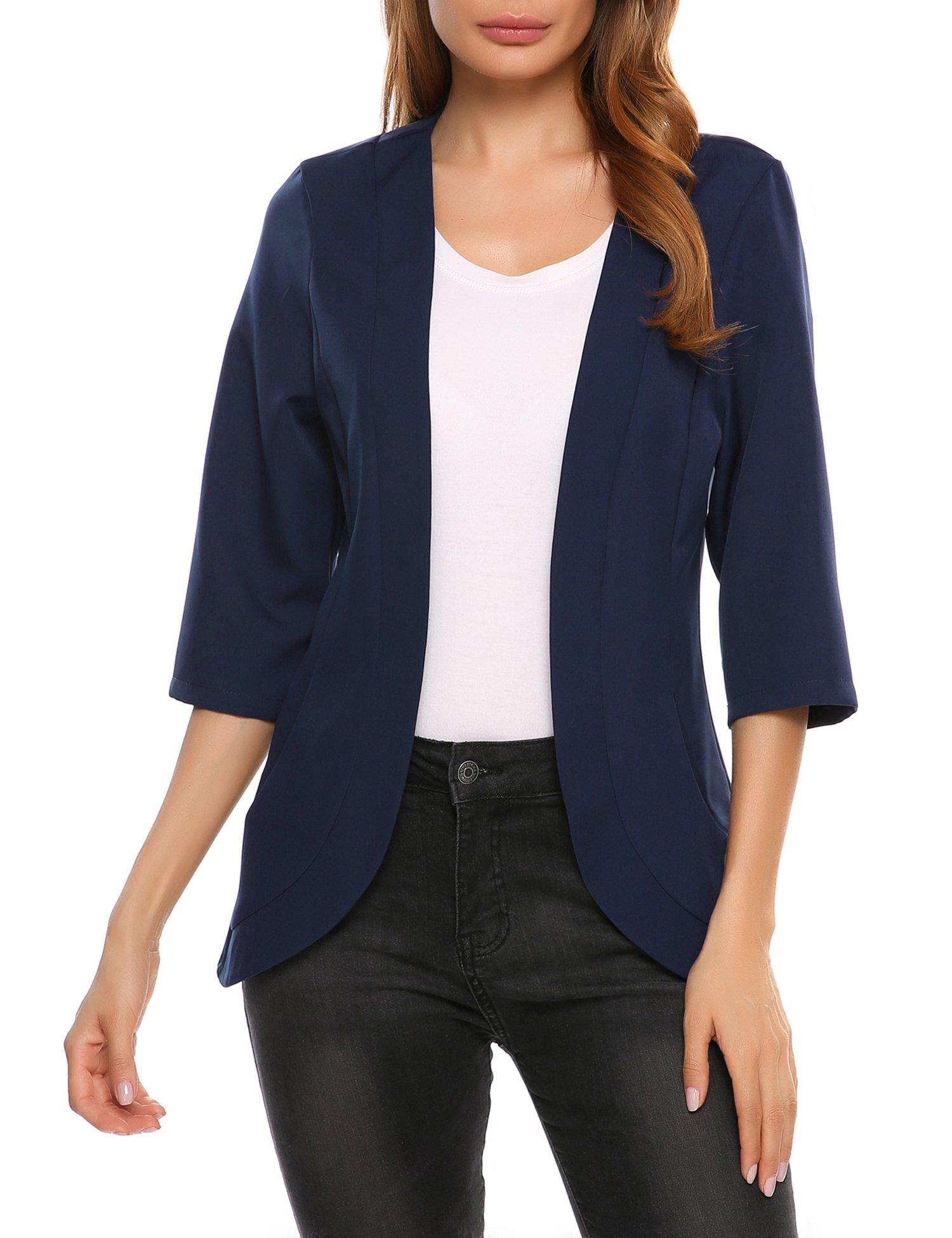 Beyove Women's 3/4 Sleeve Open Front Cardigan Blazer Jacket
