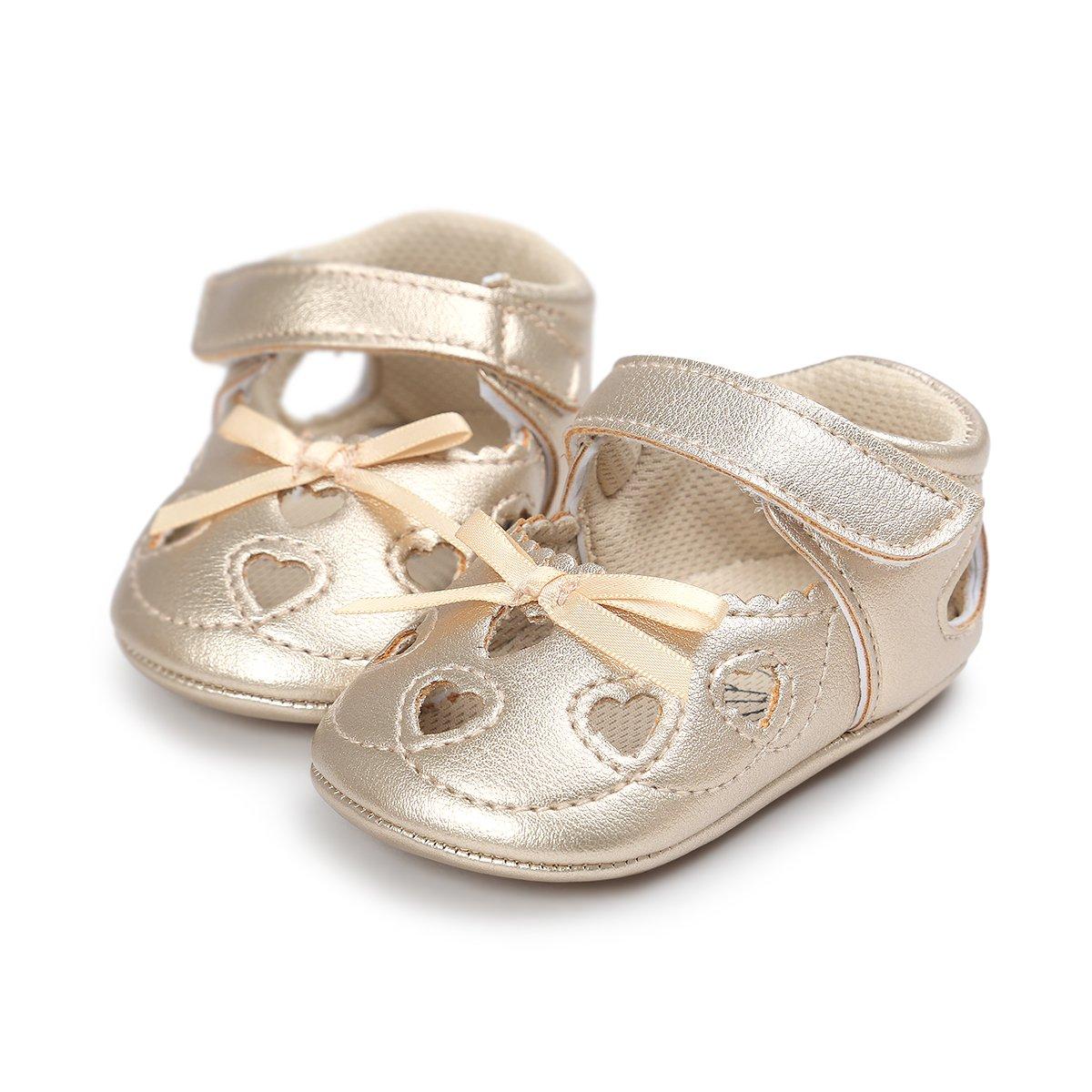 Meckior Infant Baby Girls Sandas Summer Soft Leather No-slip Princess Shoes (6-12months, A-gold)