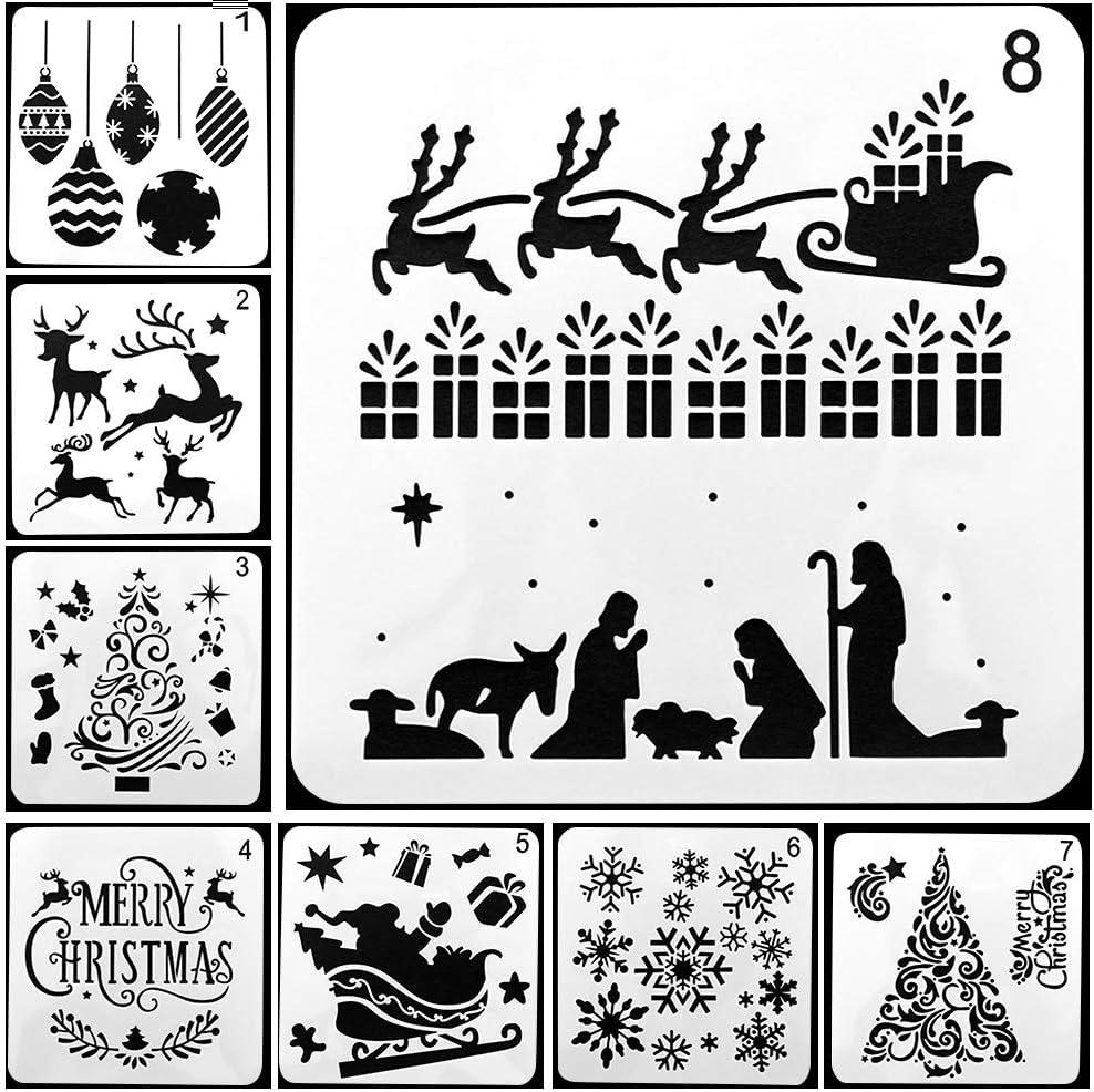 Malerei-Schablonen,Vorlagensatz Weihnachtszeichnungs-Schablonen,8PC verschiedene Weihnachtsart-Plastikskala-Schablonen stellt mit frohen Weihnachten f/ür DIY