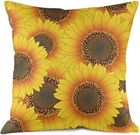 Nalina Orange Yellow Sunflower Seamless Throw Pillows Floral Decorative Cushion Cover Sofa Cotton Linen Home Kitchen