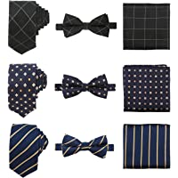 Men's Neckties Sets, Segarty 3 Pack of Polyester Silk Neckties & Bowties & Pocket Square Set for Business/Wedding/Party/Date/Gift