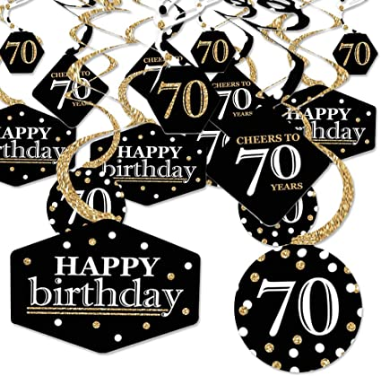 Birthday Party Centerpiece /& Table Decoration Kit Gold Big Dot of Happiness Adult 70th Birthday