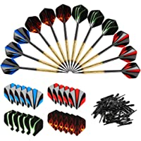 Accmor 12 Pcs Soft Tip Darts, 14g Plastic Tipped Dart, Attach Extra 36 Black 2BA Replacement Tips, Soft Tip Darts for Electronic/Plastic Dartboard.