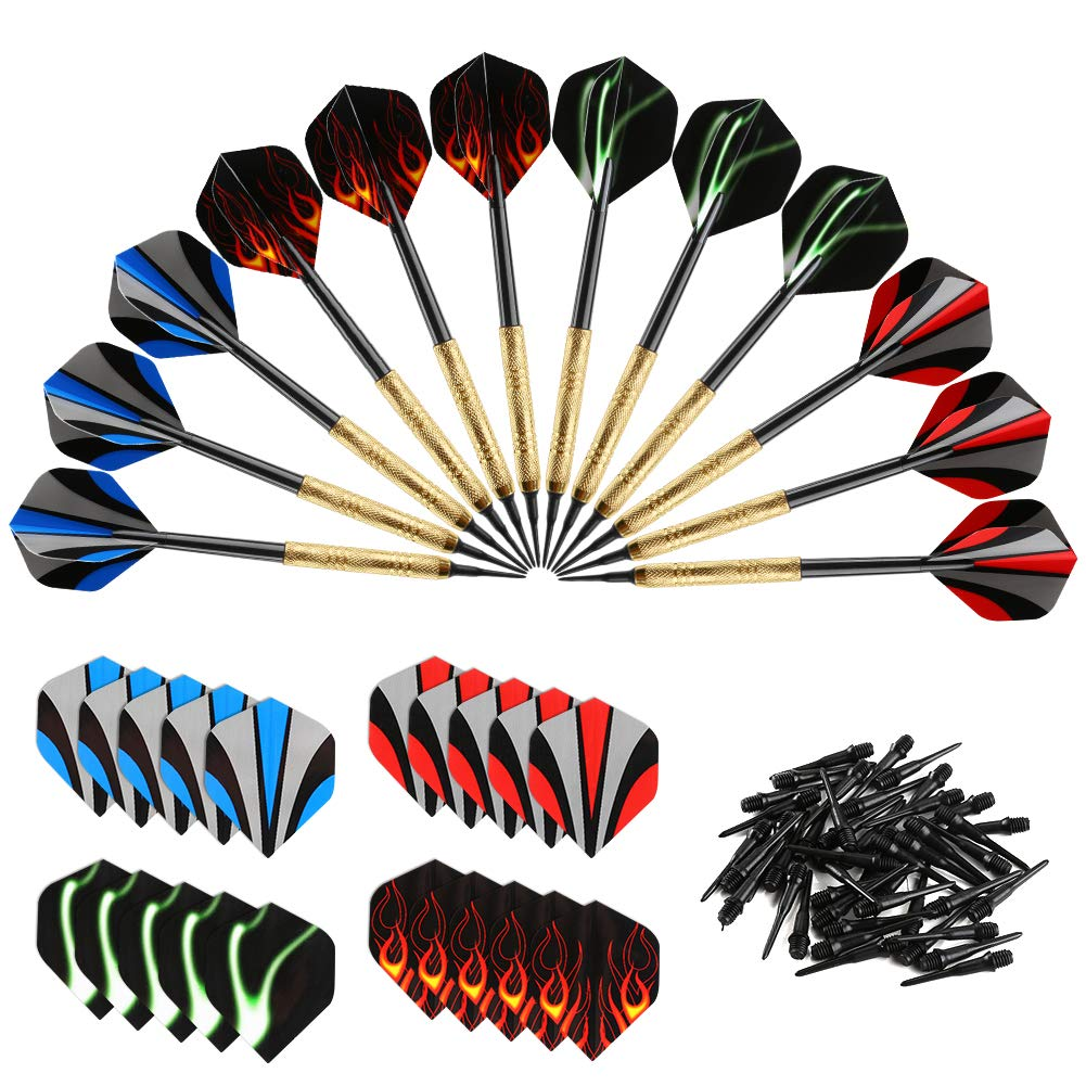 Stainles Bullout Professional Soft Tip Darts Set,12 Pcs 18G Plastic Tipped Dart