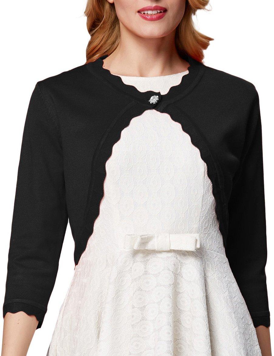 GRACE KARIN 3/4 Sleeves Knit Cardigan Shrug Trim Hem for Women Black,L AF1062-2
