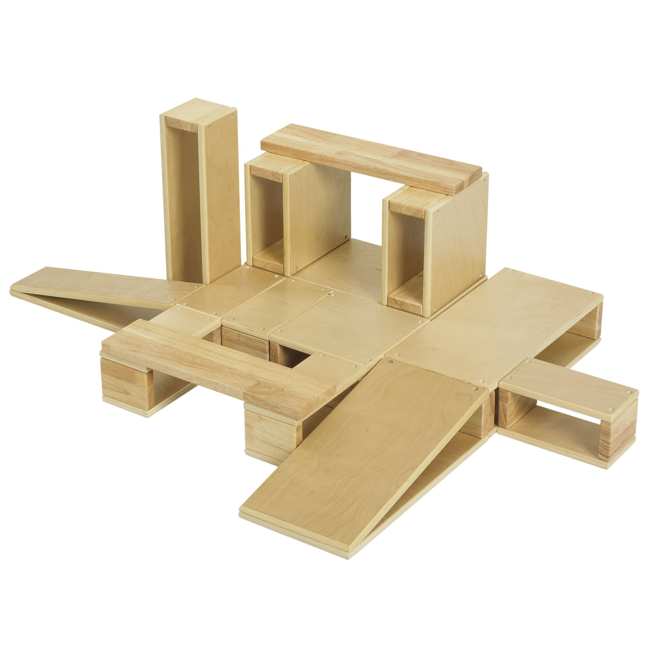 ECR4Kids Over-Sized Hollow Wooden Block Set, Natural (18-Piece)