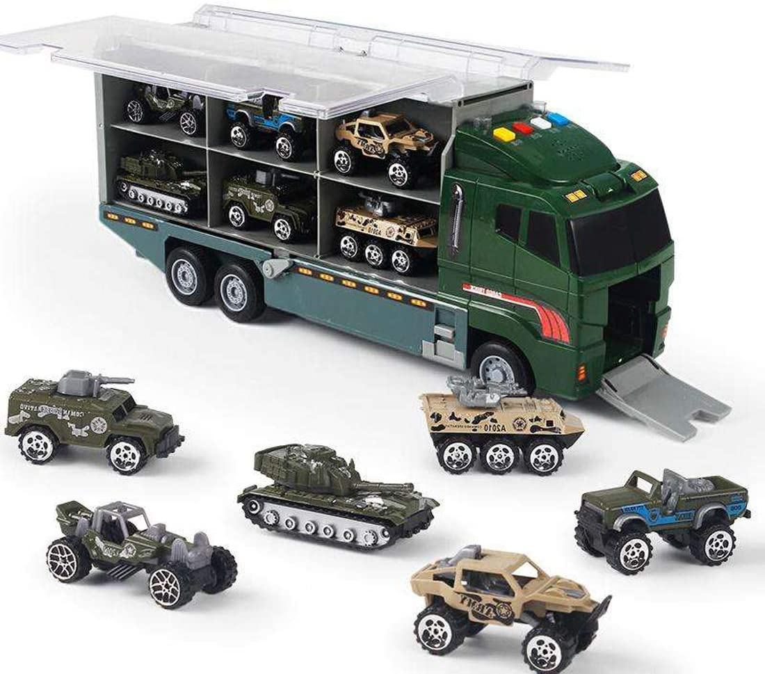 PowerTRC Die-cast Military Truck Army Vehicle Models Car Toys, Mini Battle Army Toy, Panzer, Anti-Air Vehicle, Helicopter Playset for Kids: Toys & Games