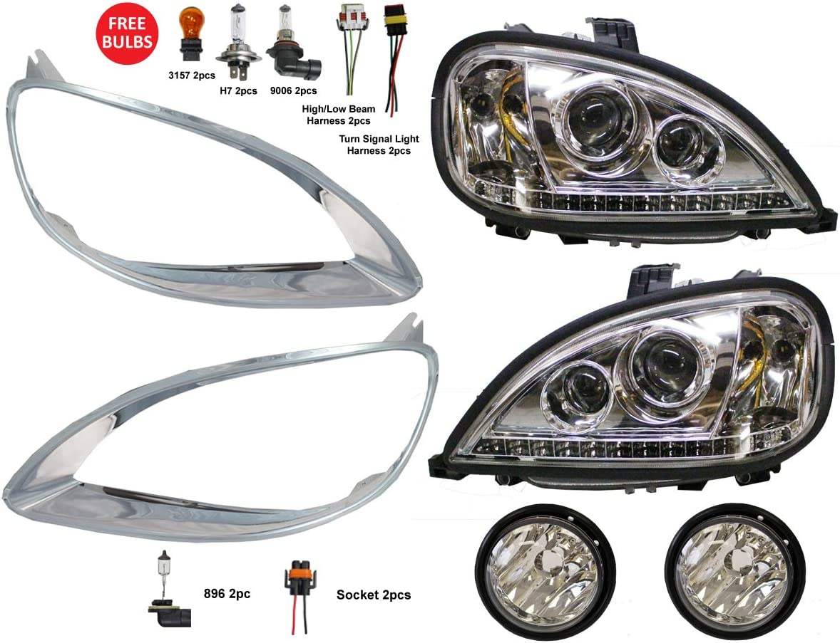 Driver /& Passenger Side 2 Pack PetaParts PBP 34-013-S Freightliner Century Headlight Bezel Black 2005 and newer