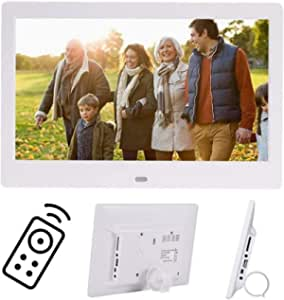 Digital Photo Frame 10 Inch IPS Screen Digital Photo Frames with USB SD Card Slots and Remote Control Digital Picture Frame HD 16:9 Widescreen,White1280*800