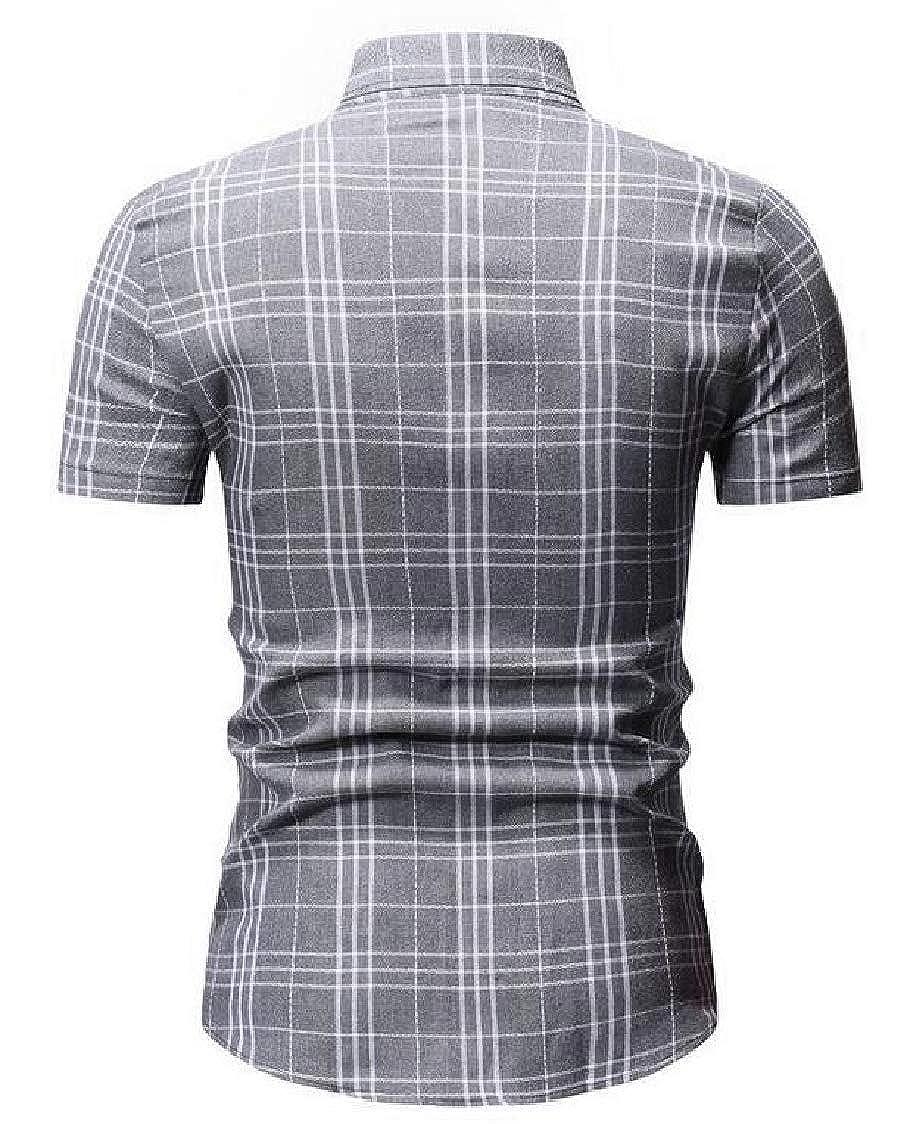 MOUTEN Men Checked Button Up Short Sleeve Formal Stylish Dress Shirts