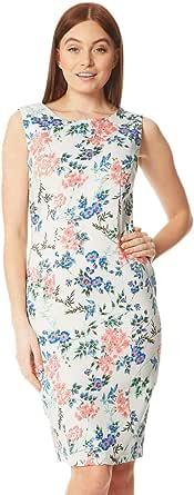 Roman Originals - Vestido de mujer con flores sin mangas - Vestido con cuello redondo con cremallera - 98% algodón, primavera, verano, estilo informal, trabajo