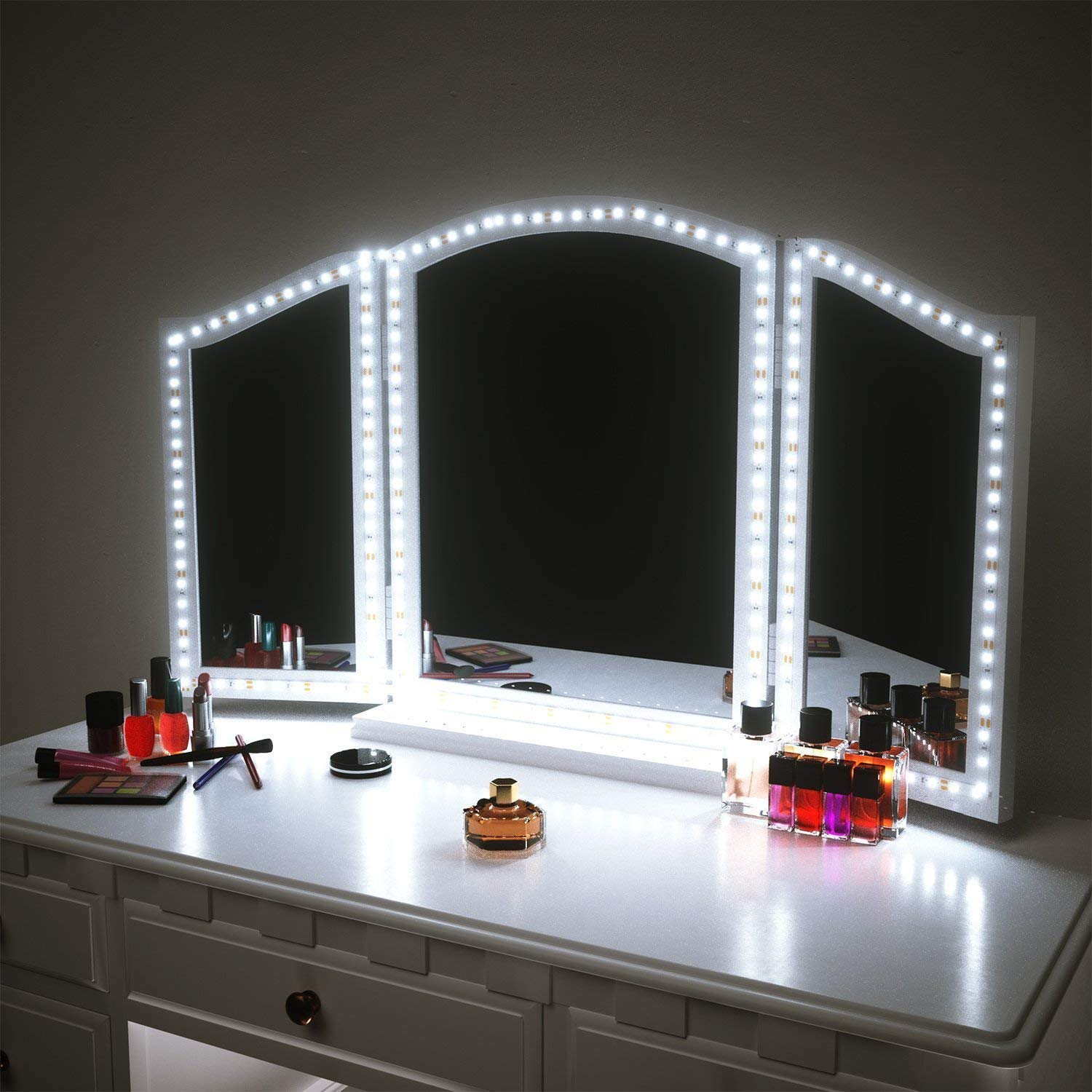 Led vanity mirror lights for makeup dressing table vanity set 13ft flexible led light strip kit 6000k daylight white with dimmer and power supply