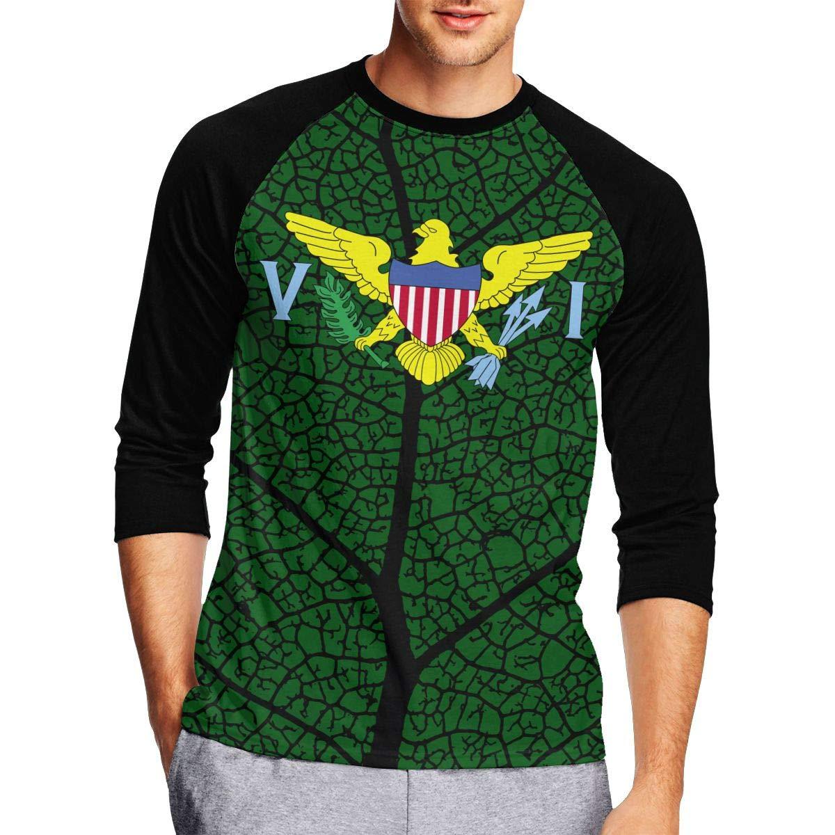 DFGHJZH-L Flag of US Virgin Islands Mens Fashion Adult Long Sleeve T Shirt