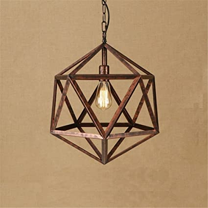 E27 Vintage Geometric Pendant Lights Industrial Retro Rhombic Ceiling Lights  Iron Rust Chandelier Bedroom Dining Table
