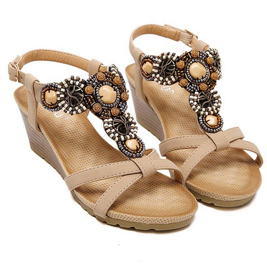 Xianshu Femmes Coin Talons Talon Sandales 19880 Toe Peep Toe T-Strap Perle Romaine Summer Beach Chaussures à Talons Hauts Abricot b35cdbe - shopssong.space