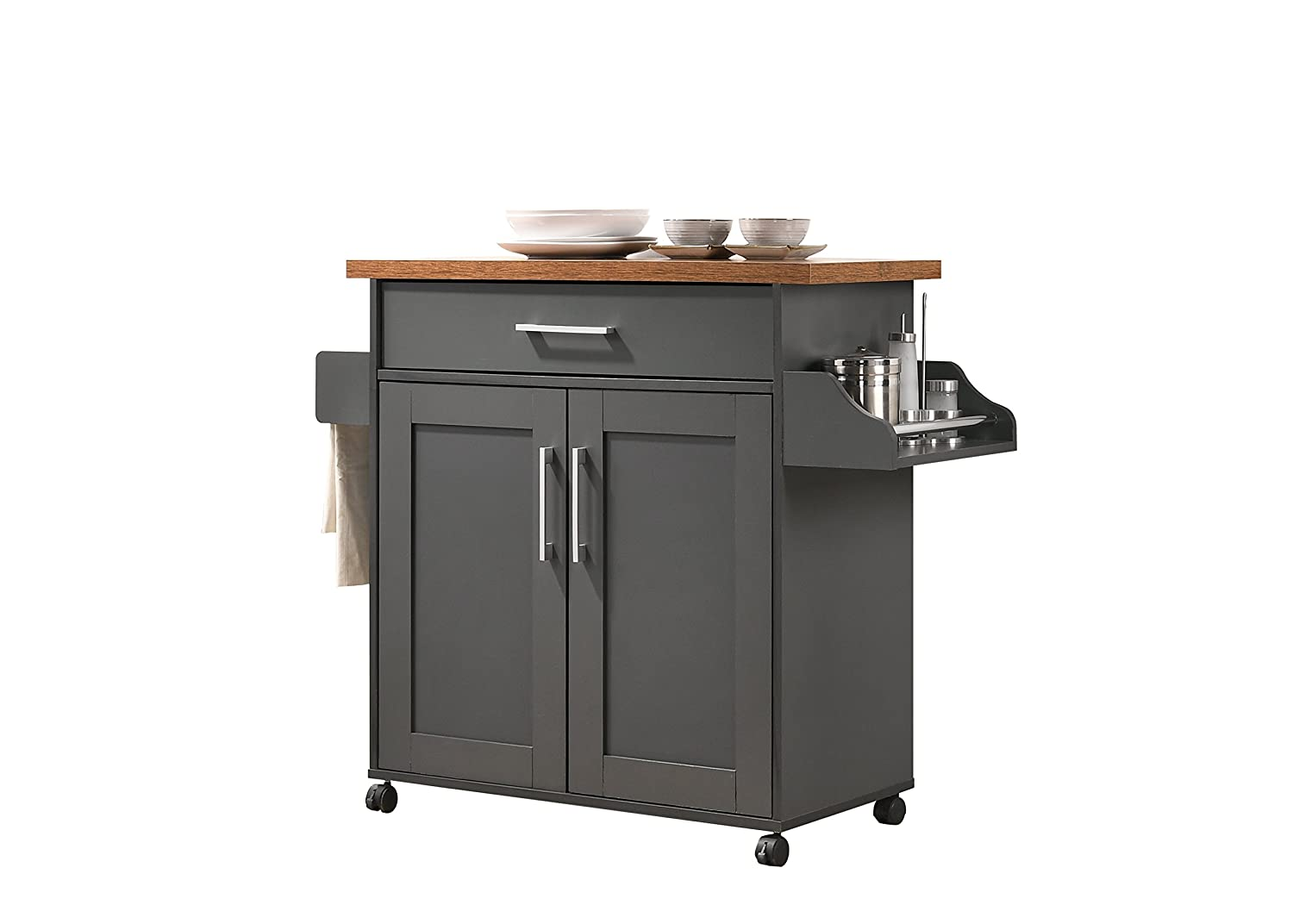 Hodedah HIK78 Grey-Oak Kitchen Cart