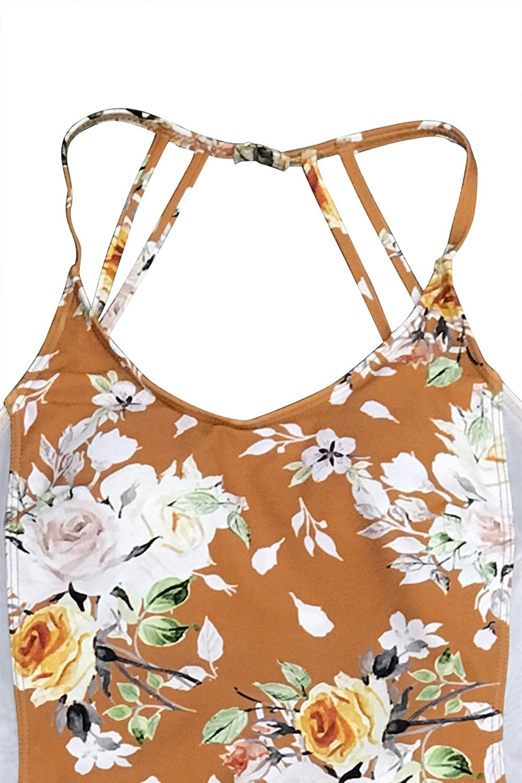 CUPSHE Womens Sweet Blossom Mesh Crisscross Straps One-Piece Swimsuit