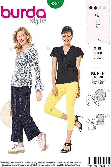Burda 6331 - Patrón de Costura para Camiseta de Mujer 34 – 44 para Coser uno Mismo, Ideal para Principiantes [L2]