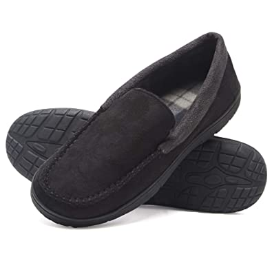 78b2289b1b Hanes Men's Moccasin Slipper House Shoe with Indoor Outdoor Memory Foam  Sole Fresh IQ Odor Protection