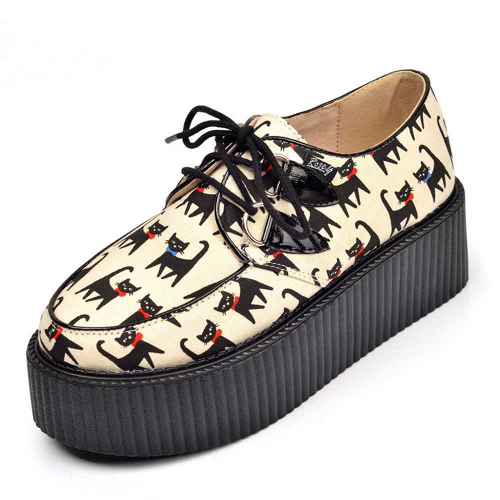 RoseG Femmes Cuir Chat Lacets Chaussures B072R6C7WL Plate forme Lacets Gothique Punk Creepers Chaussures Jaune 7868f39 - therethere.space