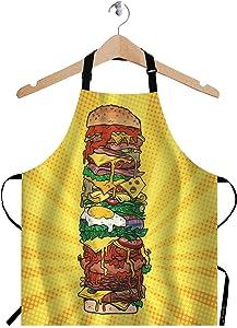 EKOBLA Huge Burger Aprons Retro Pop Art Street Fast Food Beef Bread Cheeseburger Dots Waterproof Resistant Chef Cooking Kitchen BBQ Adjustable Aprons for Women Men 27x31 Inch