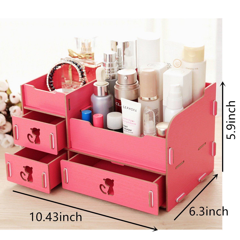 Home-Neat tuercas de escritorio de almacenamiento Cute Cat Display Boxes Caja Madera Estante de maquillajes Maquillaje Cosméticos Joyería Organizador (4 ...