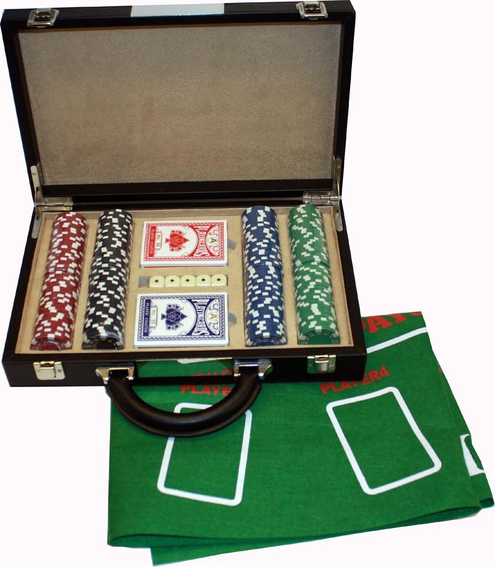Estuche de lujo para juego de póker con fichas y tapete de fieltro (34 x 21,5 x 7 cm): Amazon.es: Juguetes y juegos