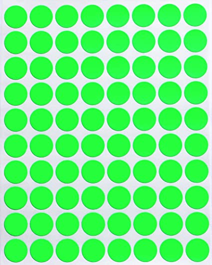 Dot stickers neon green 1 2 round stickers 13mm fluorescent color coding