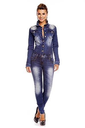 2f727e4b27bcad Mayaadi Jeans Overall Hose Jumpsuit Catsuit Röhrenjeans Denim Langarm A571  Dunkelblau S