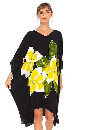 89ebbc214df SHU-SHI Women Floral Poncho Kaftan Dresses Beach Swim Cover Up Short Caftan  Black
