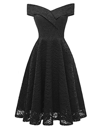 Swibe Womens Off Shoulder Dresses Vintage Lace Floral Bridesmaid Dress A-Line Cocktail Party Prom