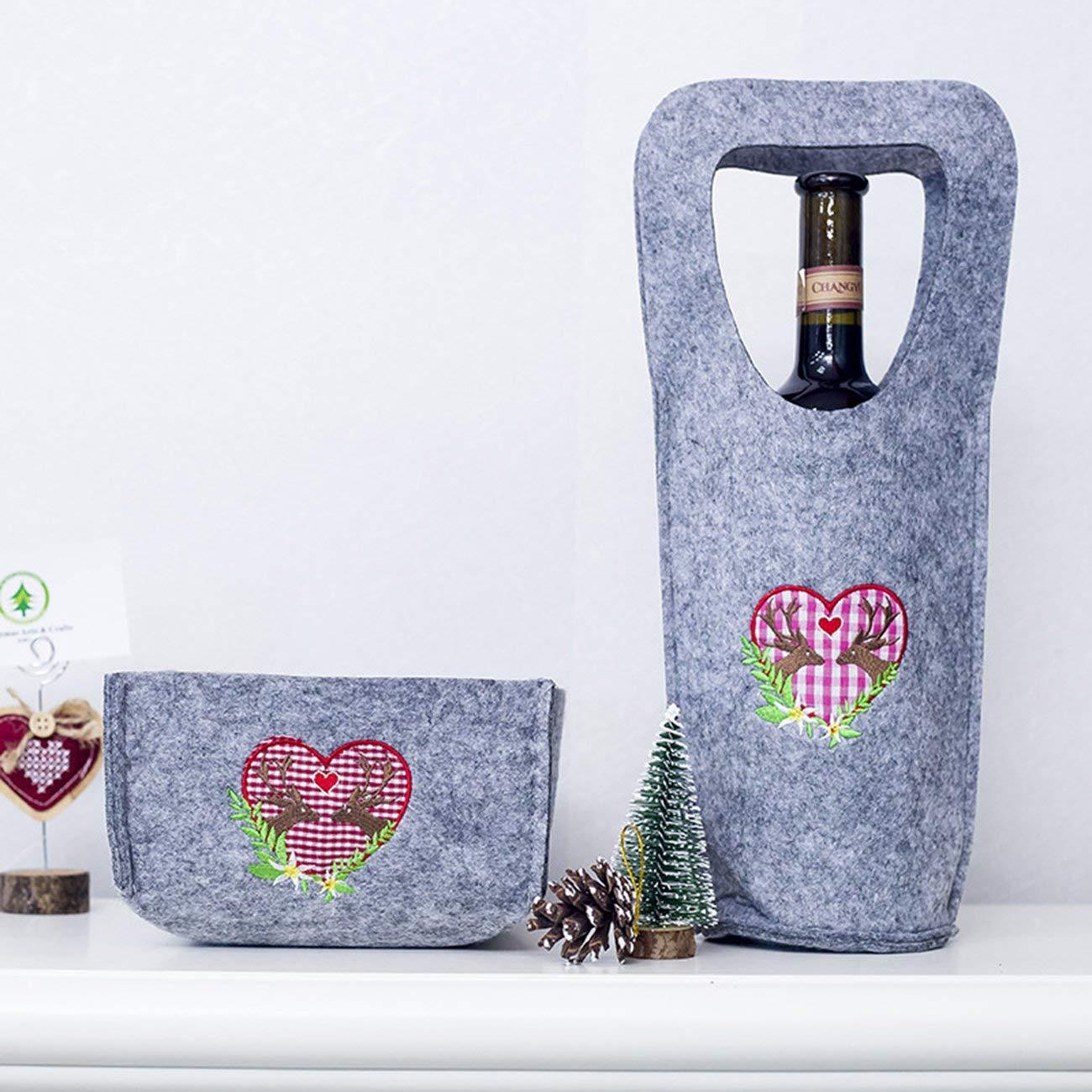 Azalea Sac de vin Rouge de Flanelle de Noël boîte de Bonbons Sac de Rangement brodé créatif de Noël Ensemble Ornement de Tissu de Noël
