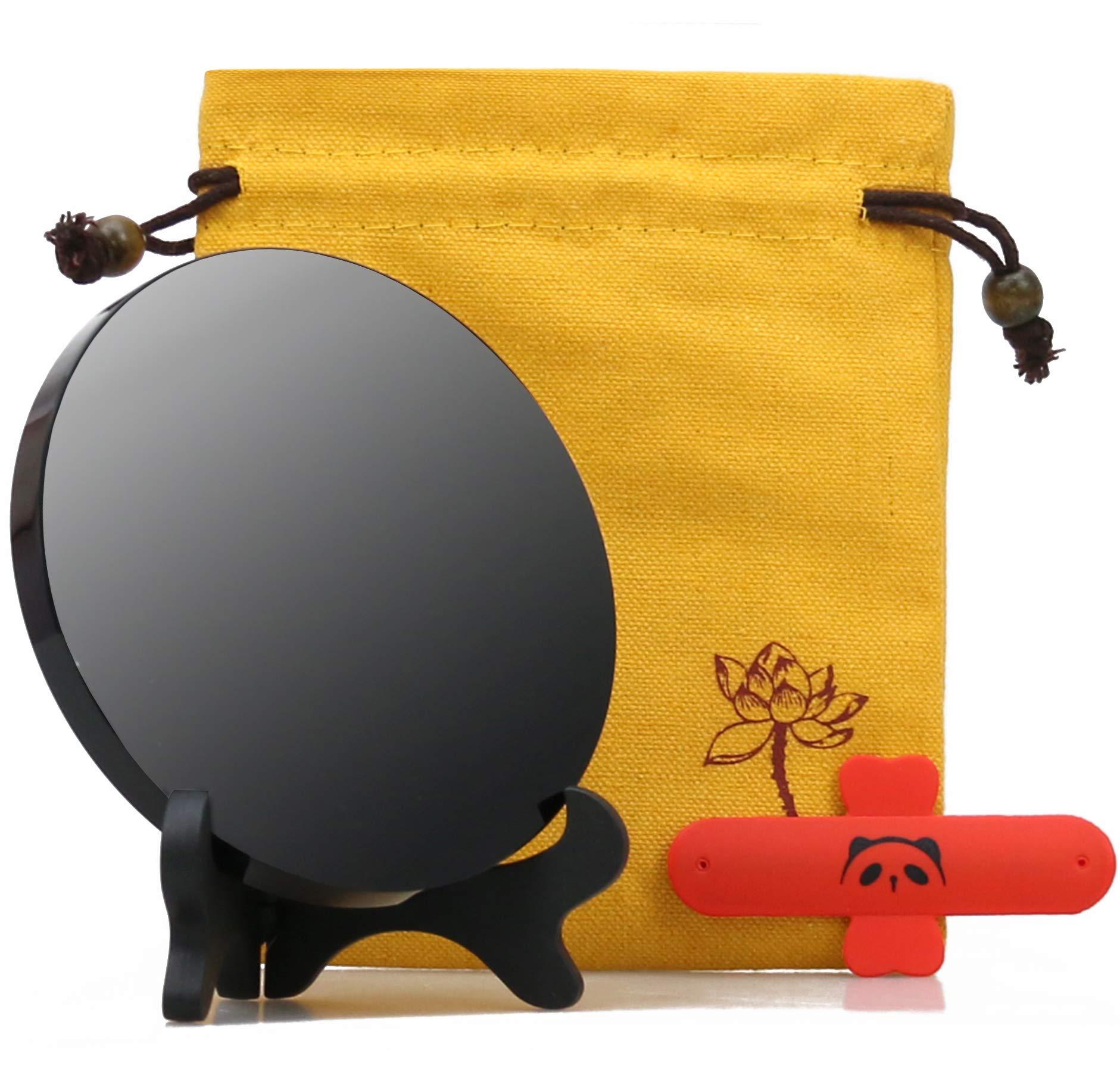 Pomcat 4.7 inches 12 cm Black Obsidian Scrying Mirror Alchemy/Yoga Energy