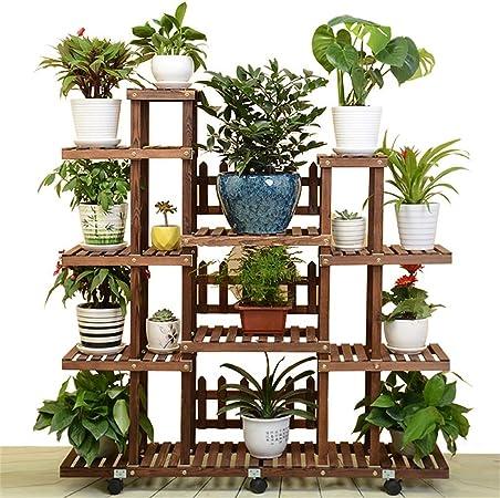 G-ZWJHLCW Soporte de Madera para Plantas de Interior y Exterior, Soporte para Maceta, Escalera de Flores, Escalera, estantería de jardín balcón con Ruedas: Amazon.es: Hogar