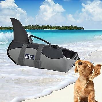 LA VIE Chaleco Salvavidas para Perros Forma de Tiburón Chaleco Flotador de Perros Ajustable y Buena