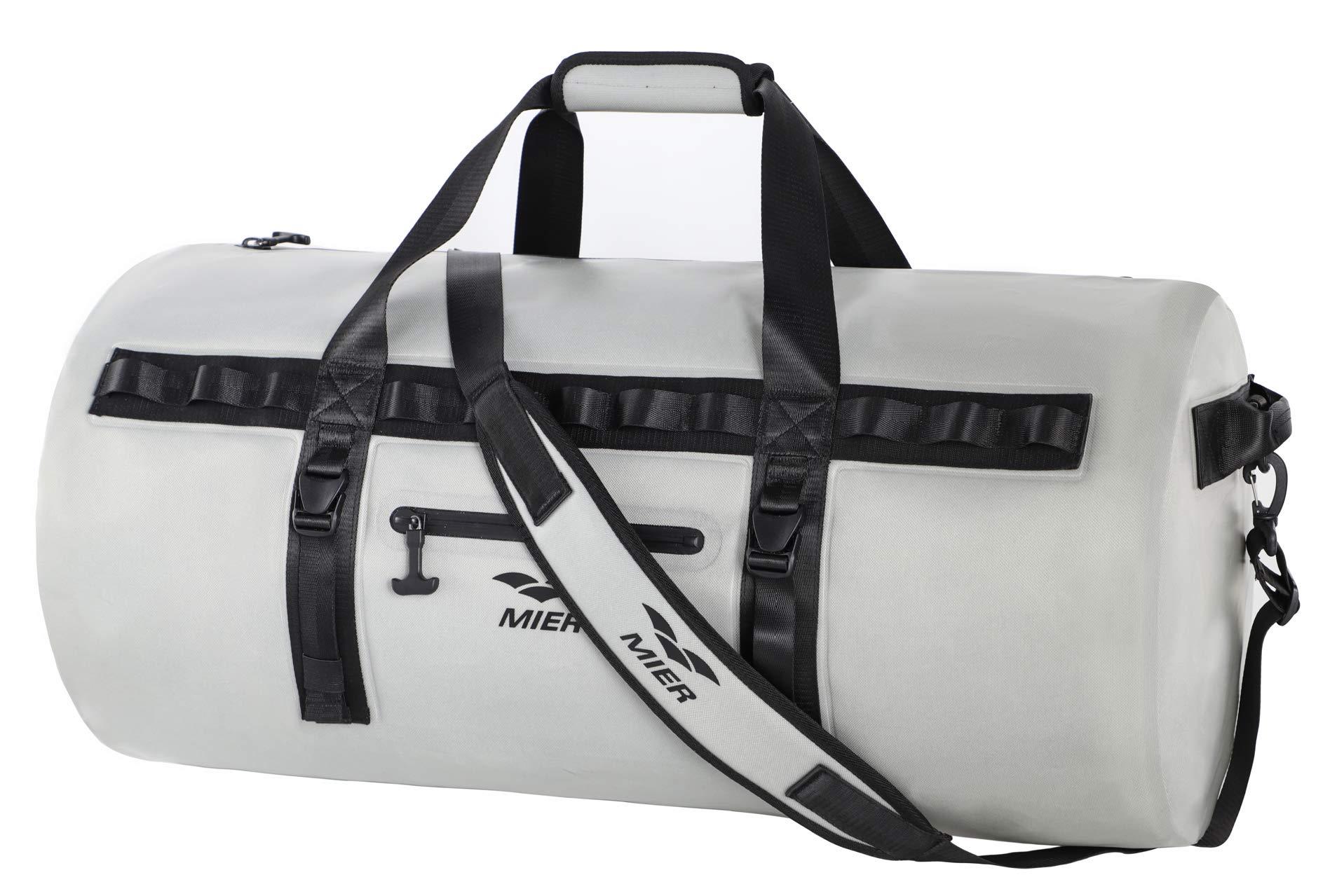 MIER Waterproof Dry Duffel Bag Airtight TPU Dry Bag for Motorcycle, Kayaking, Rafting, Skiing, Travel, Hiking, Camping, 70L/90L, Grey
