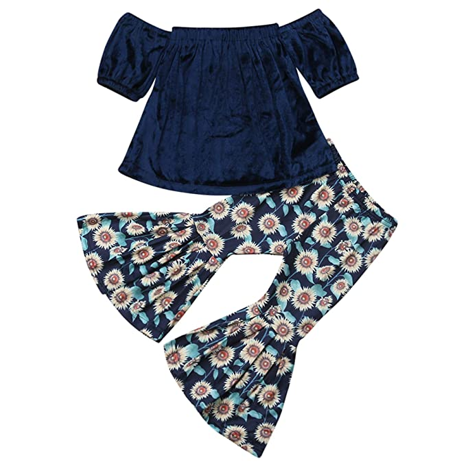 3d5c46510 Amazon.com  2PCS Baby Girl Off Shoulder Tube Top Shirt+Ruffle Floral ...