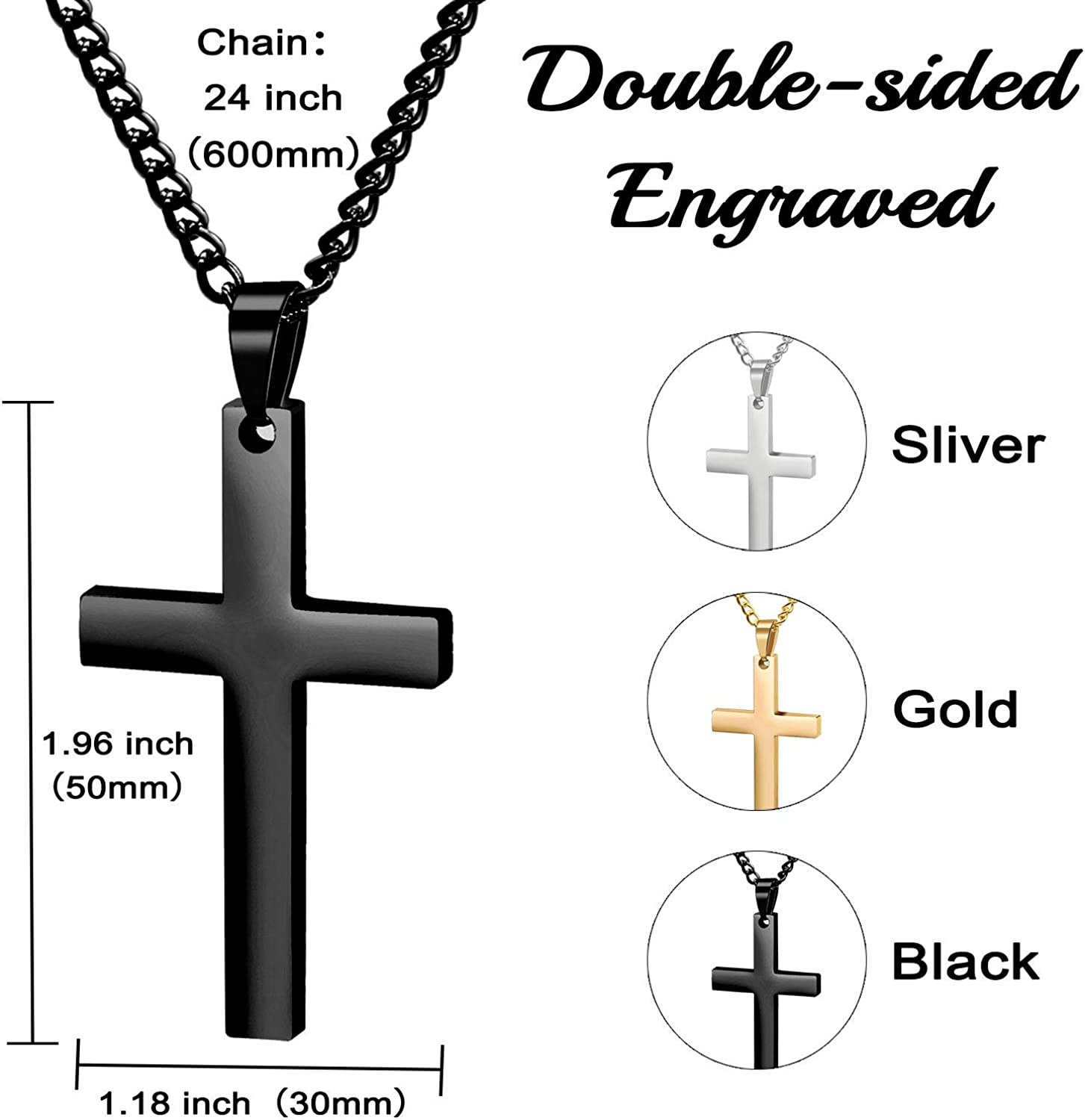 Personalized Cross Necklace Stainless Steel Custom Necklace Men/'s Cross Necklace Coordinates Men Necklace Engraved Religious Necklace