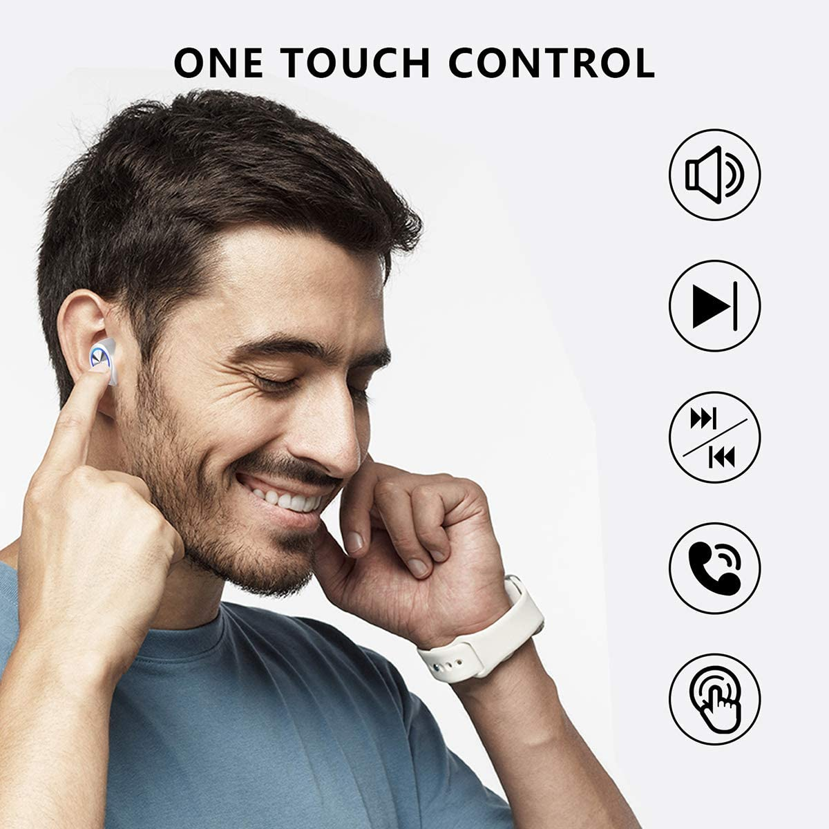 Touch Control Wireless Earbuds, Truly Wireless Stereo Sound Earphones 12H Playtime Built-in Mic Headset Bluetooth 5.0 Wireless Headphones with Charging Case White