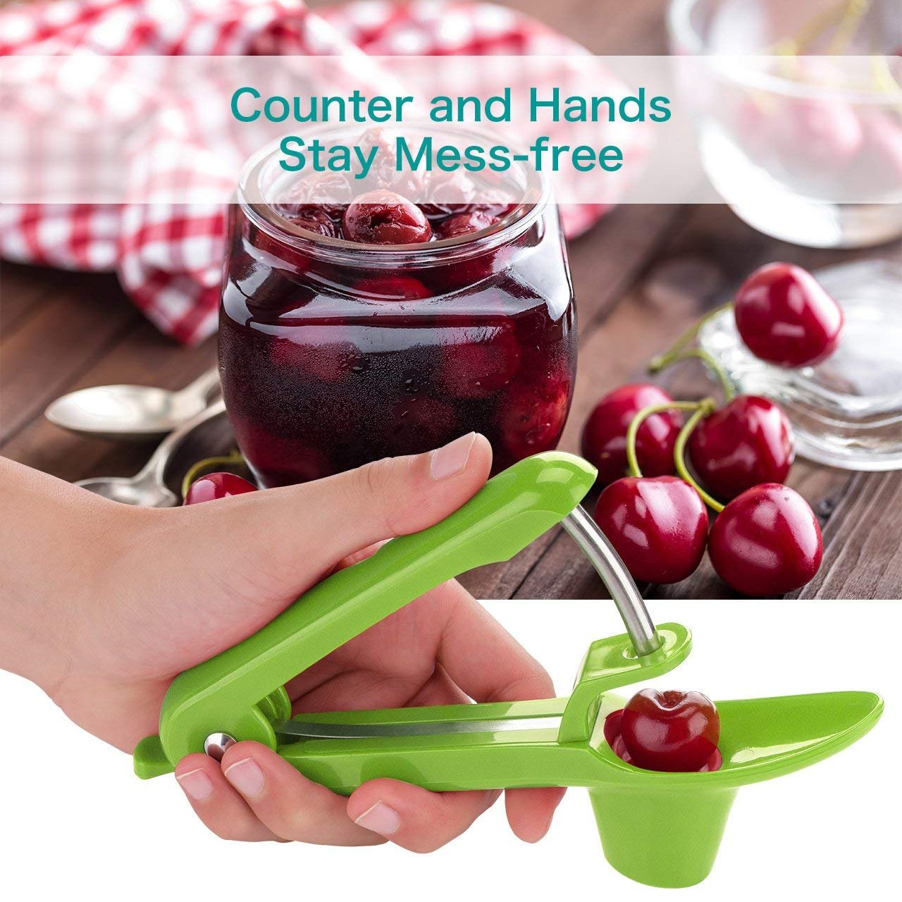 IPEC THERAPY Cherry Pitter,Portable Cherry Pitter Remover Cherry Pitter Tool Olive Pitter Tool Cherry Stoner Cherry Seed Remover by IPEC THERAPY (Image #3)