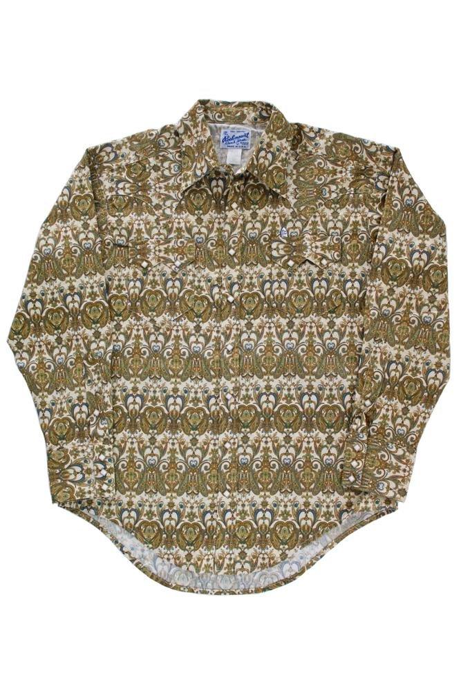 Rockmount Jacquard Print Western Shirt Gold 630G-Brown-XL