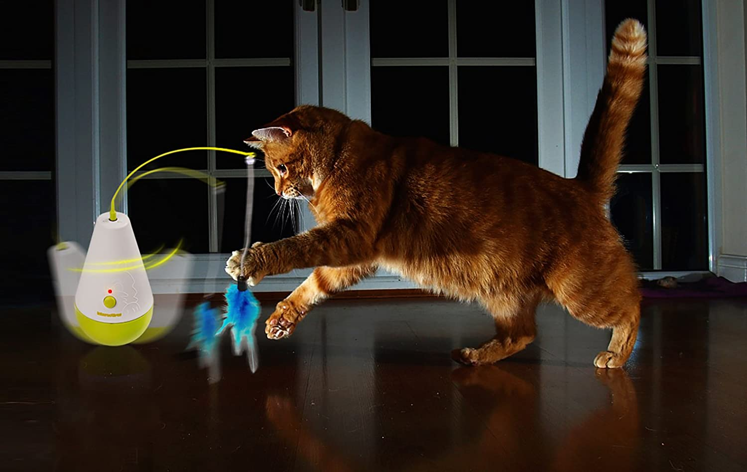 Electric Tumbler Cat Toy Remote Control Feather Spinning Teaser Catnip Toys