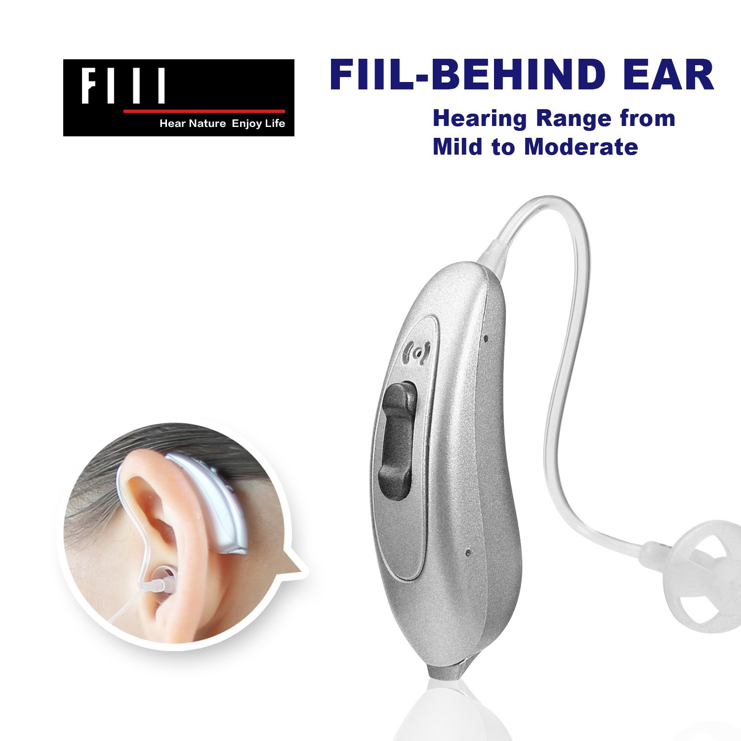 FIIL Hearing Ampilifier Digital Noise Reduce Volume Control Personal Mini Sound Amplifier Battery for Left Ear Right Ear Adjustable Audiologist Designed (Silver, Left)